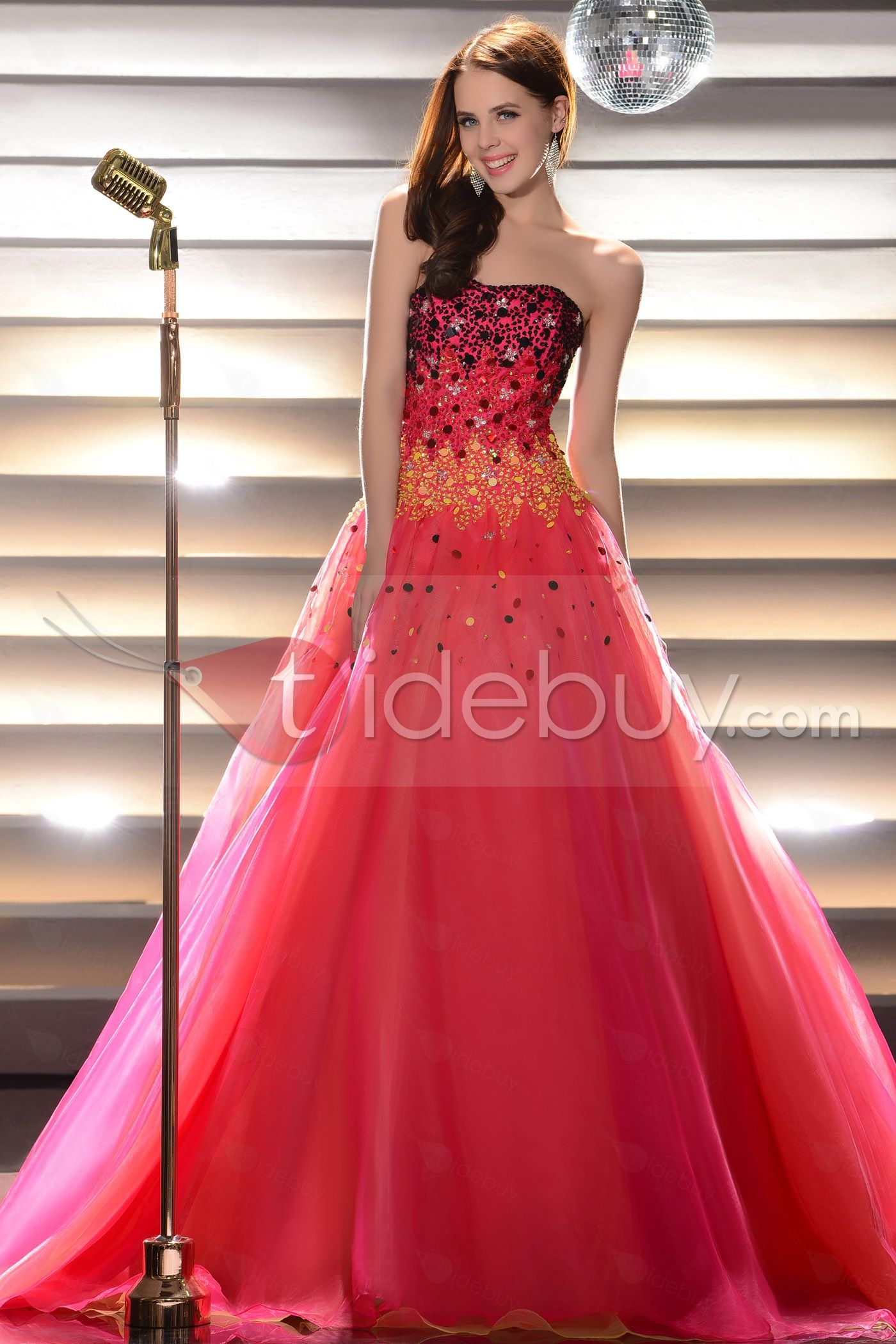 Glimmering Beading Floor-Length Strapless Ball Gown Quinceanera ...