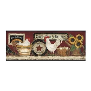 Country Rooster Shelf Wallpaper Border Features Roosters, Chickens And  Sunflowers On A Wooden Shelf. Perfect For Your Country Or Primitive Decor!