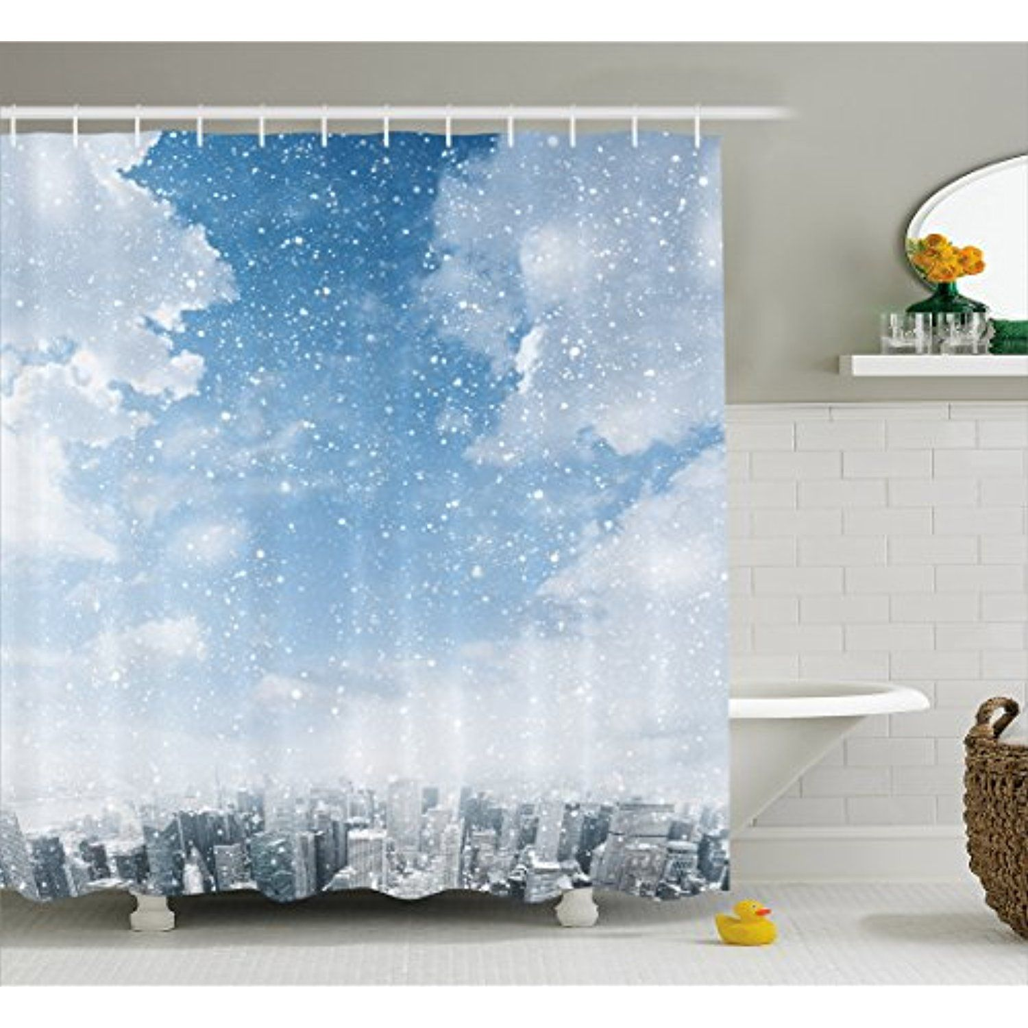 Winter Shower Curtain By Ambesonne Snow Falling Down On The New