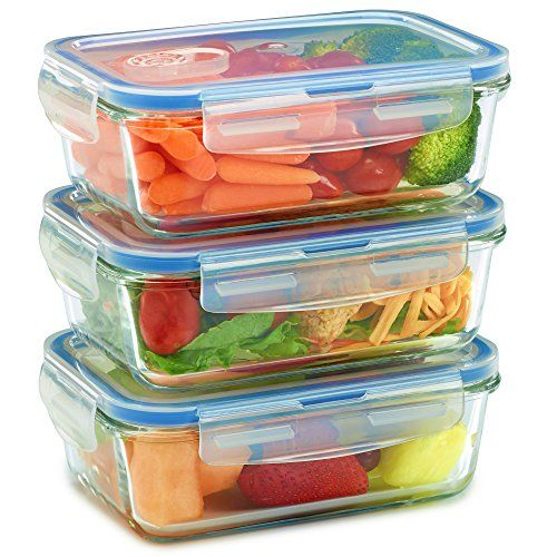 3 Pack Glass Meal Prep Containers for Food Storage w S https