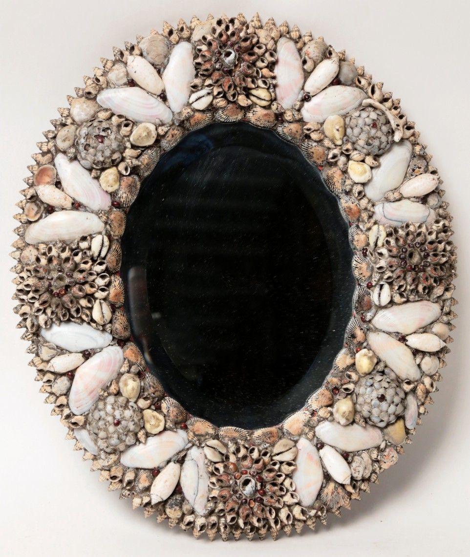 19th Century Oval Shell Encrusted Bevel Glass Mirror - Rafael Osona Auctions Nantucket, MA