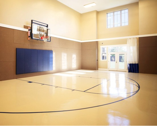 A Look At Some Private Indoor Basketball Courts From Houzz Com Homes Of The Rich Home Basketball Court Indoor Basketball Court Indoor Basketball