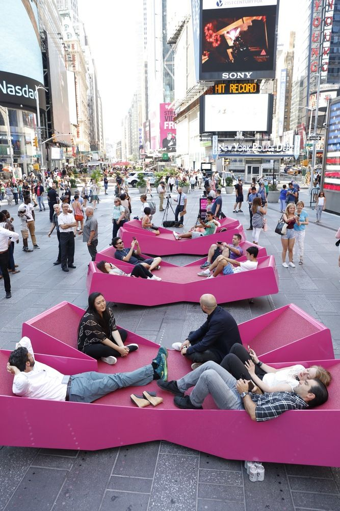 J Mayer H Fills Times Square With X Shaped Lounge Chairs Public Space Design Street Furniture Urban Intervention