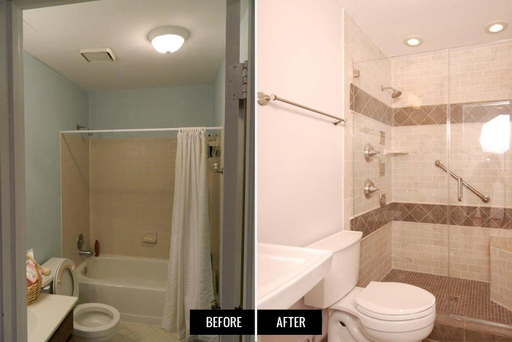 10 bathroom remodel ideas before and after 1 removing for Bathroom remodels for small bathrooms