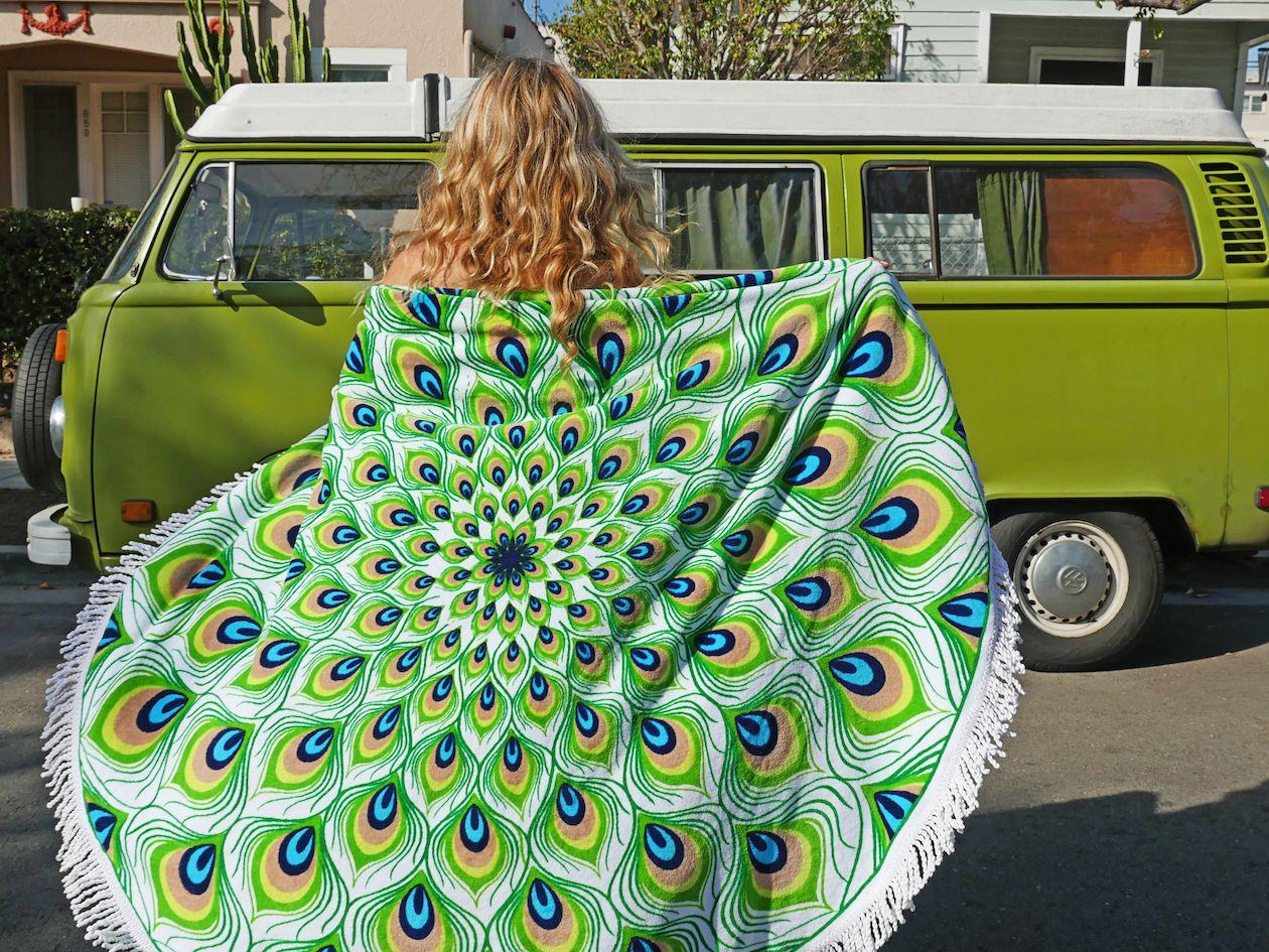 Magical Peacock Bus Girl Volkswagen Minibus Camper Girls