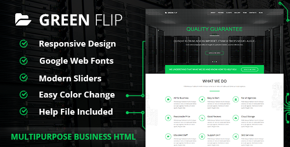 Green Flip One Page Theme Bootstrap 3 Free blogger