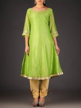 Green - Golden Gota Embellished Chanderi Kurta