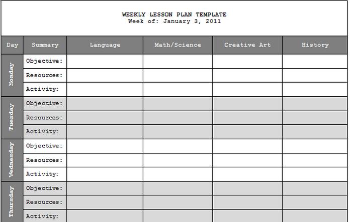 Printableweeklylessonplantemplate Useful Resources For My