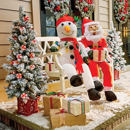 Stuffable Santa Claus & Snowman Outdoor Porch Decoration