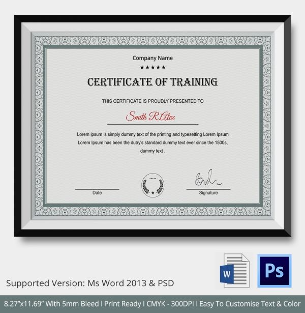 Certificate Of Training Template Shoetechnic Pinterest