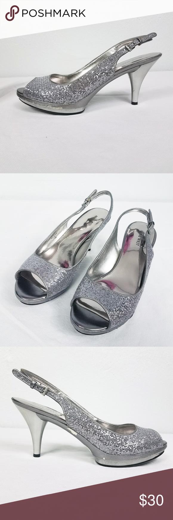 Nine West Silver Women S Sling Back Heels Shoes Heels Shoes Women Heels Shoes Heels