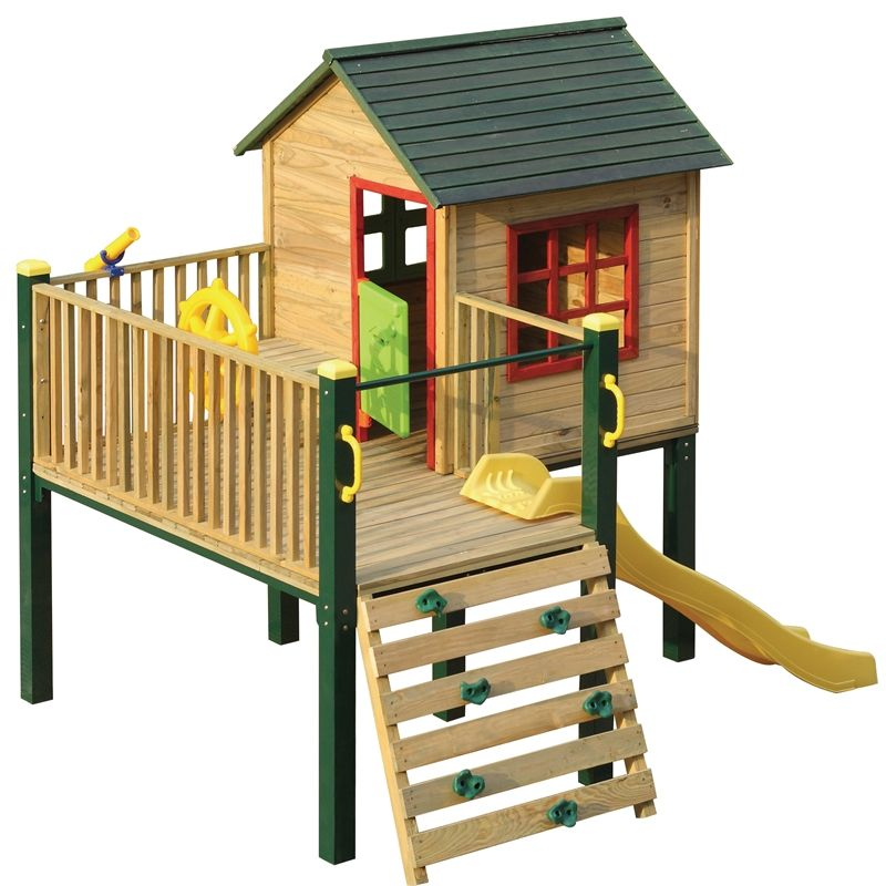 Swing slide climb shangri la multiplay timber playhouse for Childrens playhouse with slide and swing
