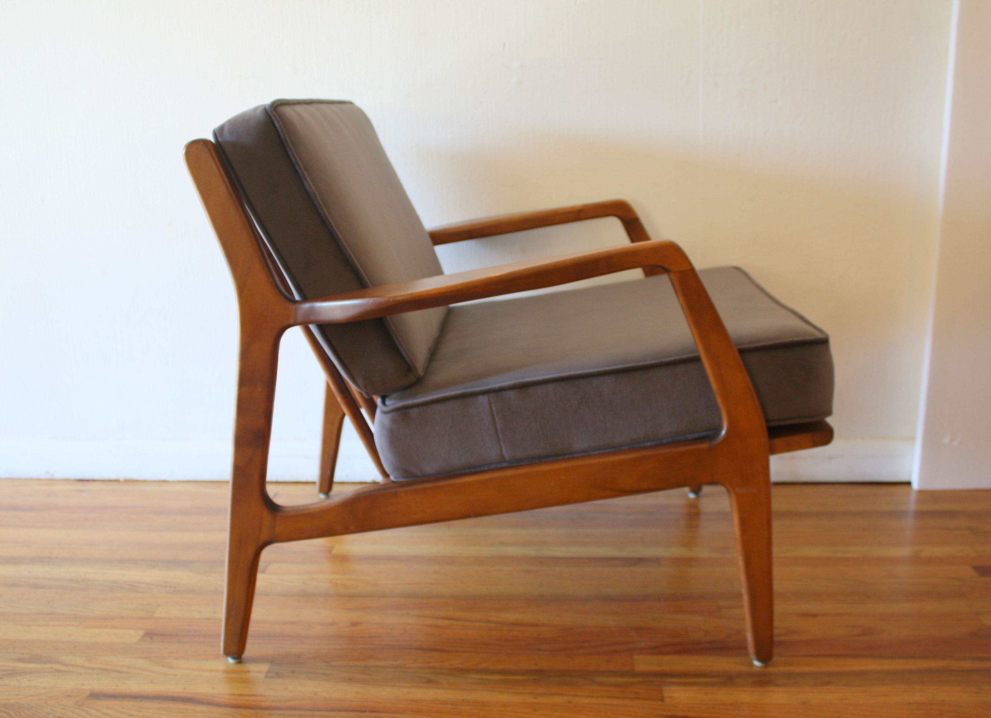 Mid Century Modern Arm Lounge Chair With New Elephant Gray Velvet Cushions.  LOVE This Side