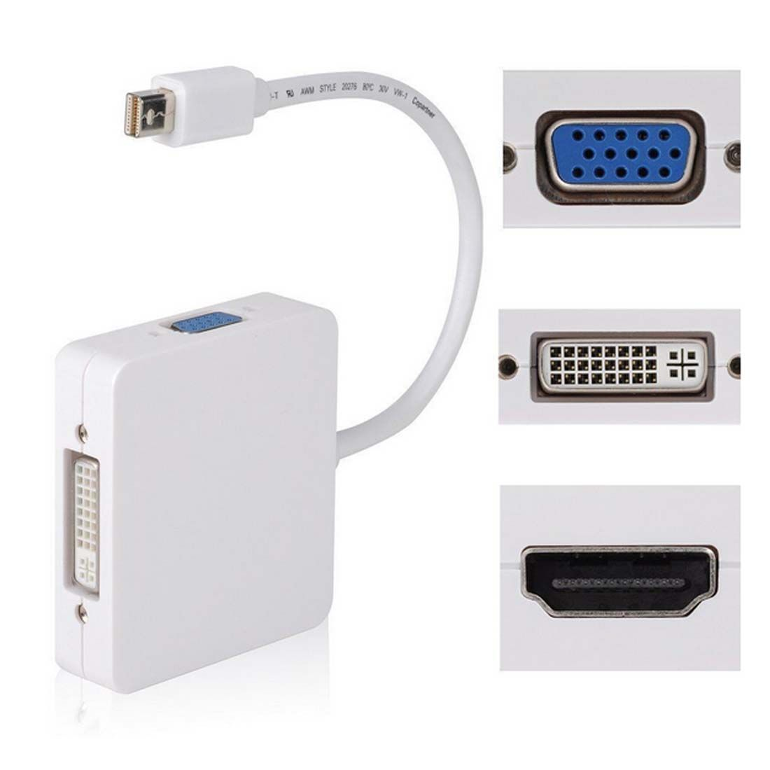 New 3 In1 Thunderbolt Mini Displayport Dp To Hdmi Dvi Vga Adapter Converter Display Port Cable For