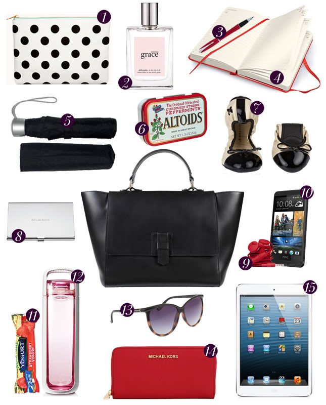 15 Essentials To Have In Your Work Bag Handbag Essentials Work Bag
