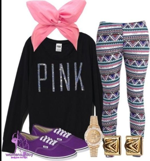 """Cute """"pink"""" sweater with aztec printed leggings and a cute bow that brings a great hint and really brings the outfit together perfectly"""