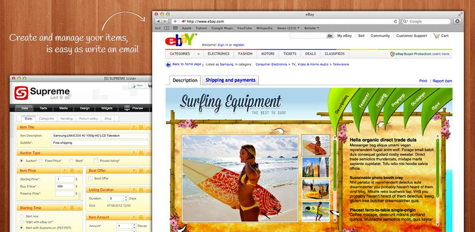 Supreme Lister Sell Ebay Items With The 1 Ebay Tool Easy To Use Auction Software With Ebay Lister Free Seller Tool Ebay Tool Write An Email Ebay