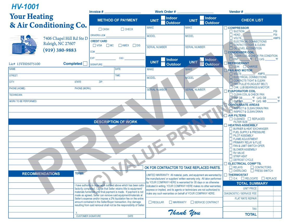This Hvac Flat Rate Invoice Has Room For  Units And A Checklist