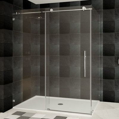 Lesscare Ultra C 48 X 76 Single Sliding Shower Door Wayfair Sliding Shower Door Shower Doors Frameless Sliding Shower Doors