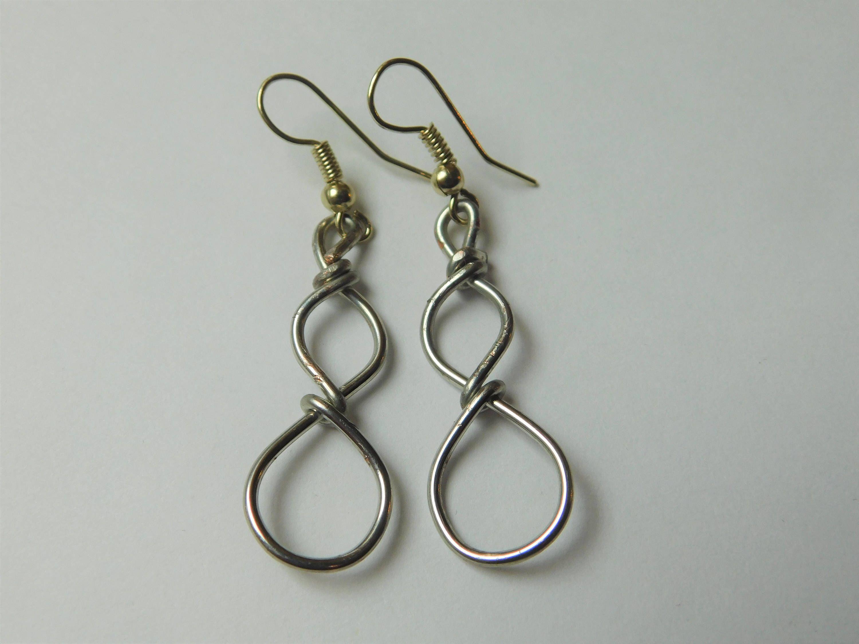 Infinity Dangling Earrings, Wire Earrings, Silver and Gold Jewelry ...