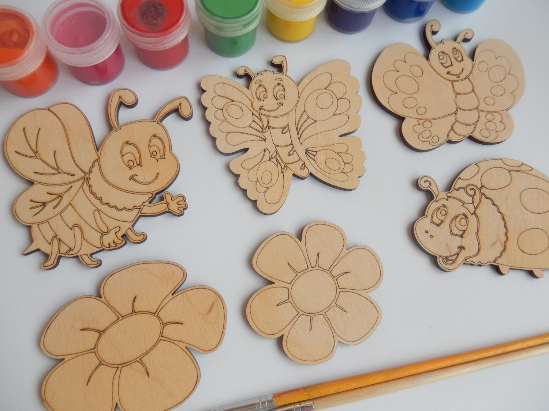 6 Laser Cut Wood Shapes Bee Butterfly Ladybird Flower Wood