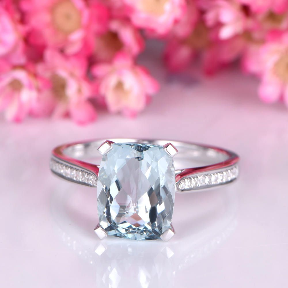 Big cushion aquamarine ring 8x10mm natural aquamarine diamond ...