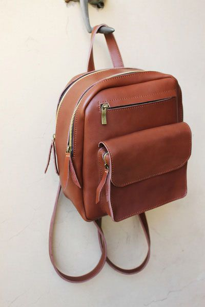 Vintage Leather Backpack College Backpack School Backpack ...