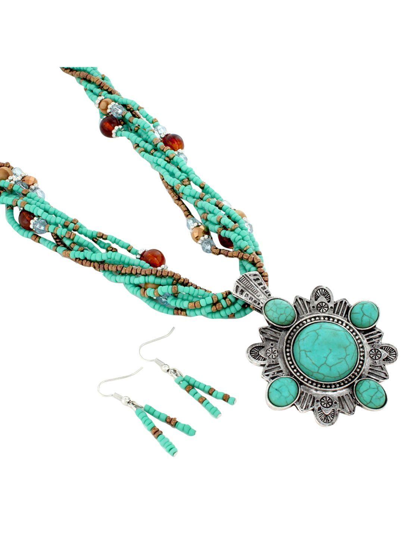 Multi strand western turquoise stone pendant necklace and earring multi strand western turquoise stone pendant necklace and earring set js5342 astq aloadofball Choice Image