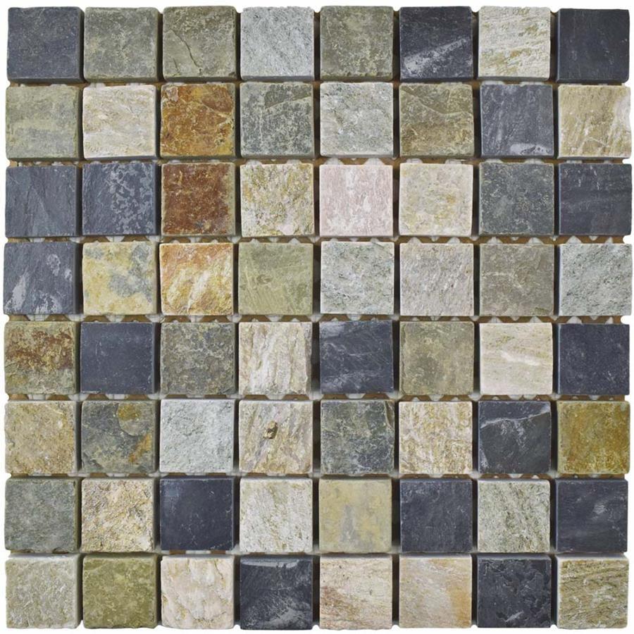 Crag Square Multi Grey 11 3 4 X11 3 4 Slate Mos Stone Mosaic Tile Mosaic Flooring Mosaic Tiles