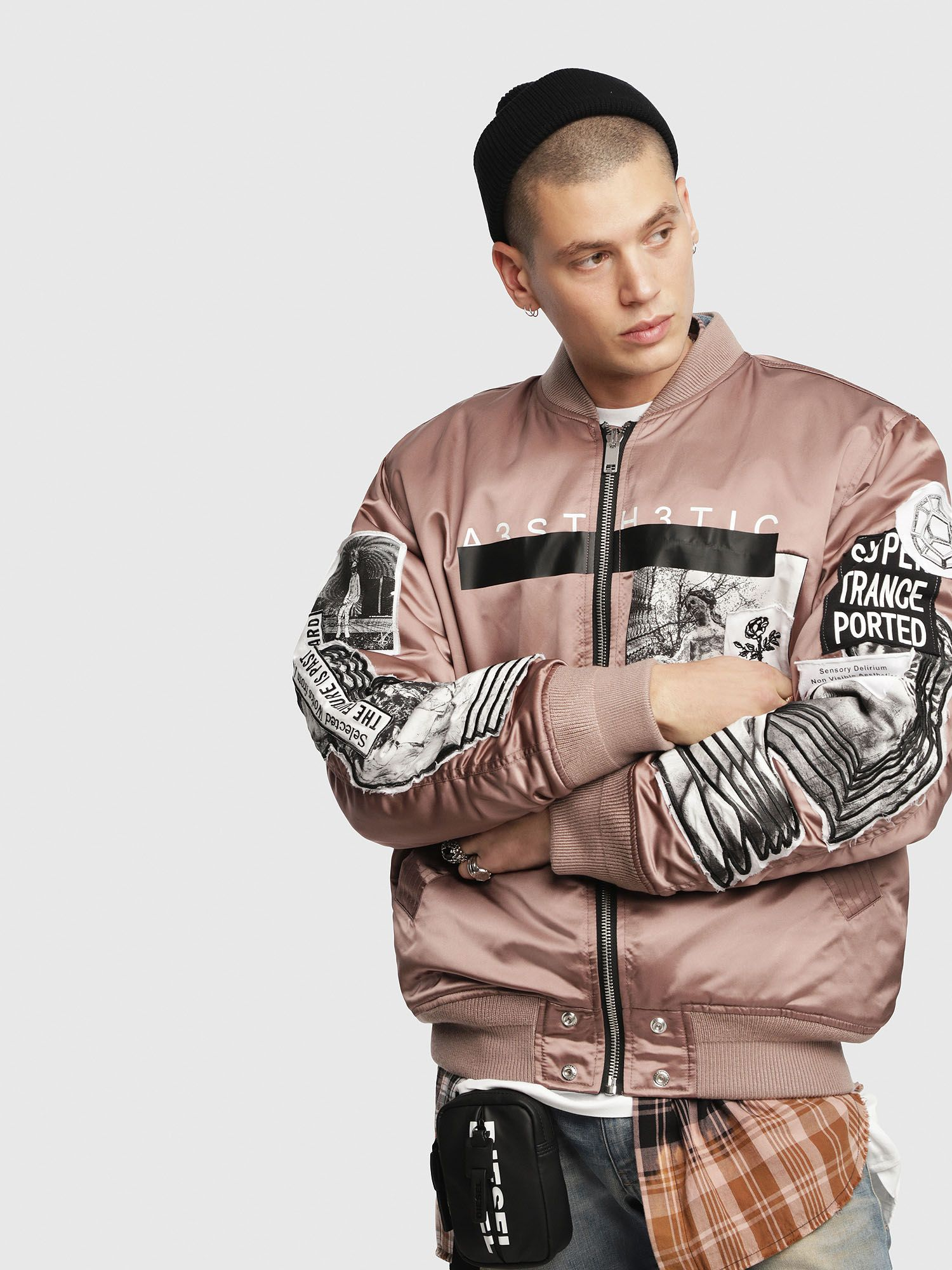 Layer On The Iconography In This Shiny Satin Padded Bomber Jacket Adorned With Graphic Patches And Embr Bomber Jacket Satin Bomber Jacket Padded Bomber Jacket [ 2000 x 1500 Pixel ]