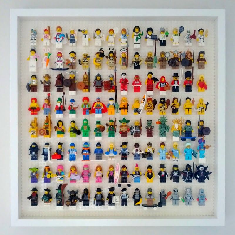 Lego minifigure display case: white 8x12 plates used in a Ikea Ribba ...
