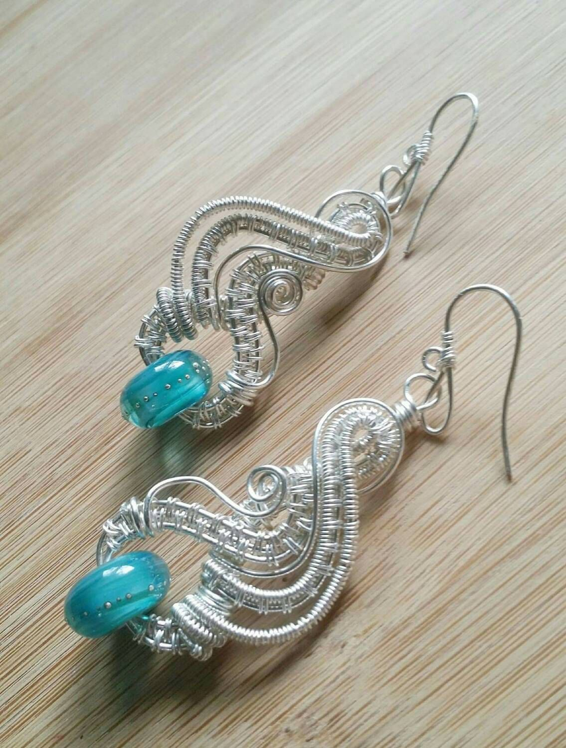 Wire Wrapped Earrings Sterling Silver Argentium Silver Silver ...