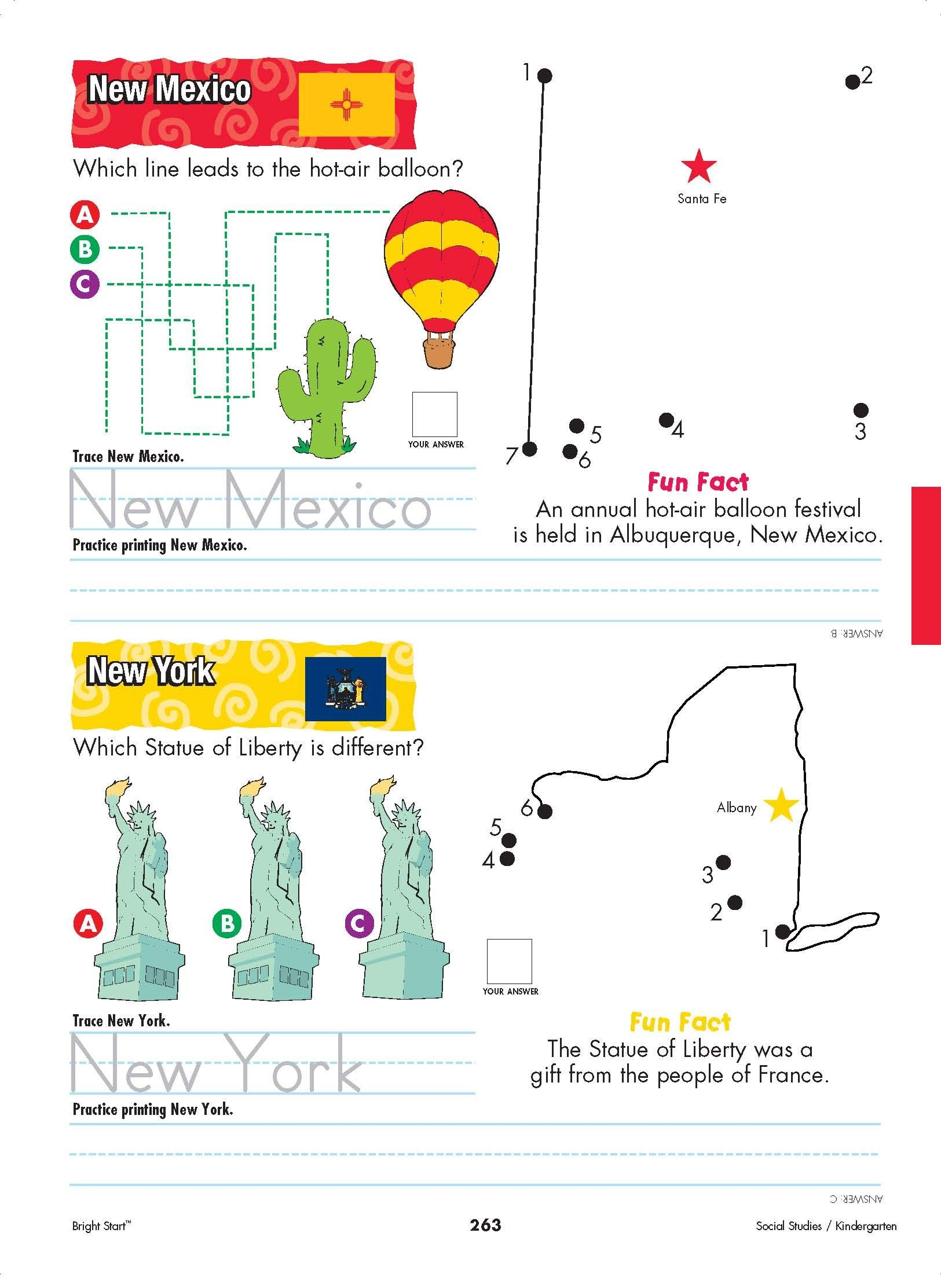 New Mexico And New York Your Kindergartener Can Practice