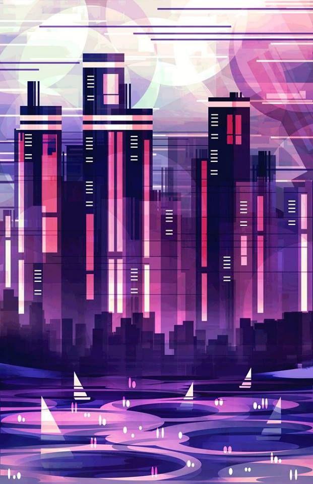 картинки города будущего из геометрических фигур обжарив добавляем лопух