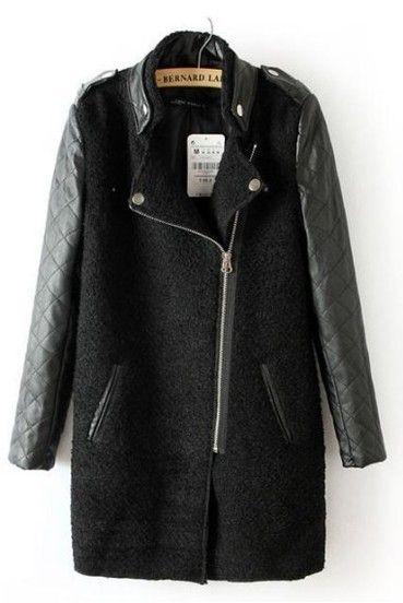5b3b581979370 Manteau noir contrastant en cuir à manches matelassées avec fermeture photos