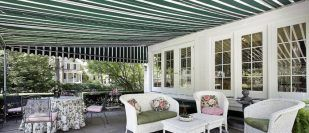 home with outdoor awning