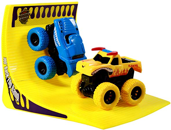 Amazon Com Tychotyke Kids Friction Powered Monster Truck Play Set Backflip Ramp Blue Yellow Toys Games Playset Christmas Gifts For Kids Toy Car Gifts