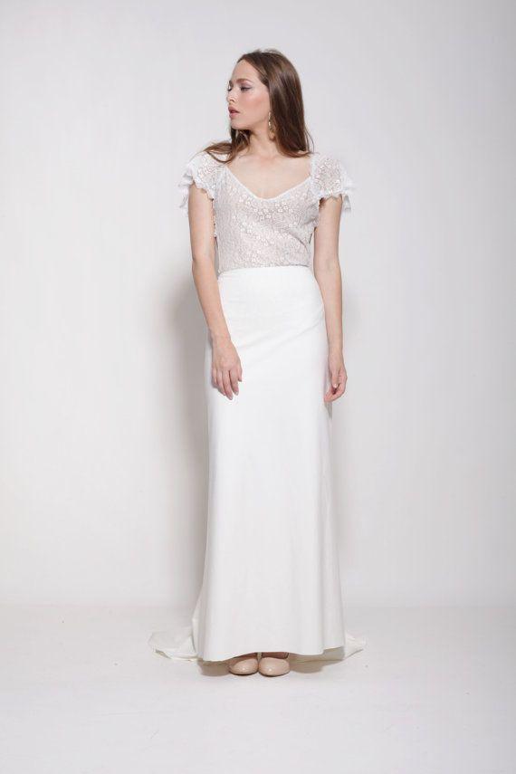 Bohemian lace top wedding dress,open back wedding dress, bodysuit ...