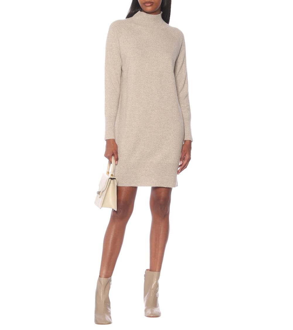 Cashmere Turtleneck Dress In Beige Turtle Neck Dress Cashmere Turtleneck Cashmere Sweater Dress [ 1129 x 1000 Pixel ]