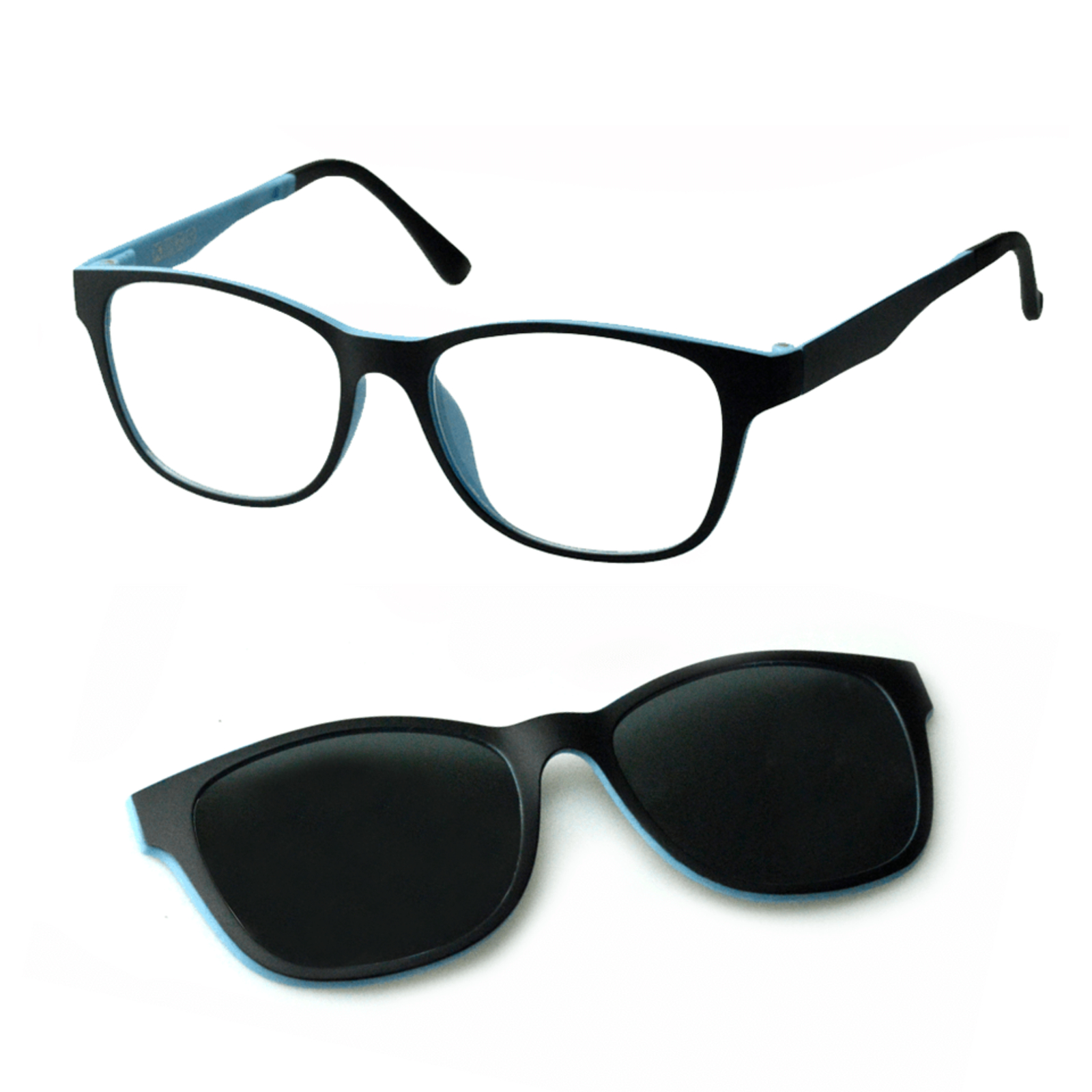 Oculos Armacao De Grau E Sol Izaker Clipon Quadrado Preto 8003
