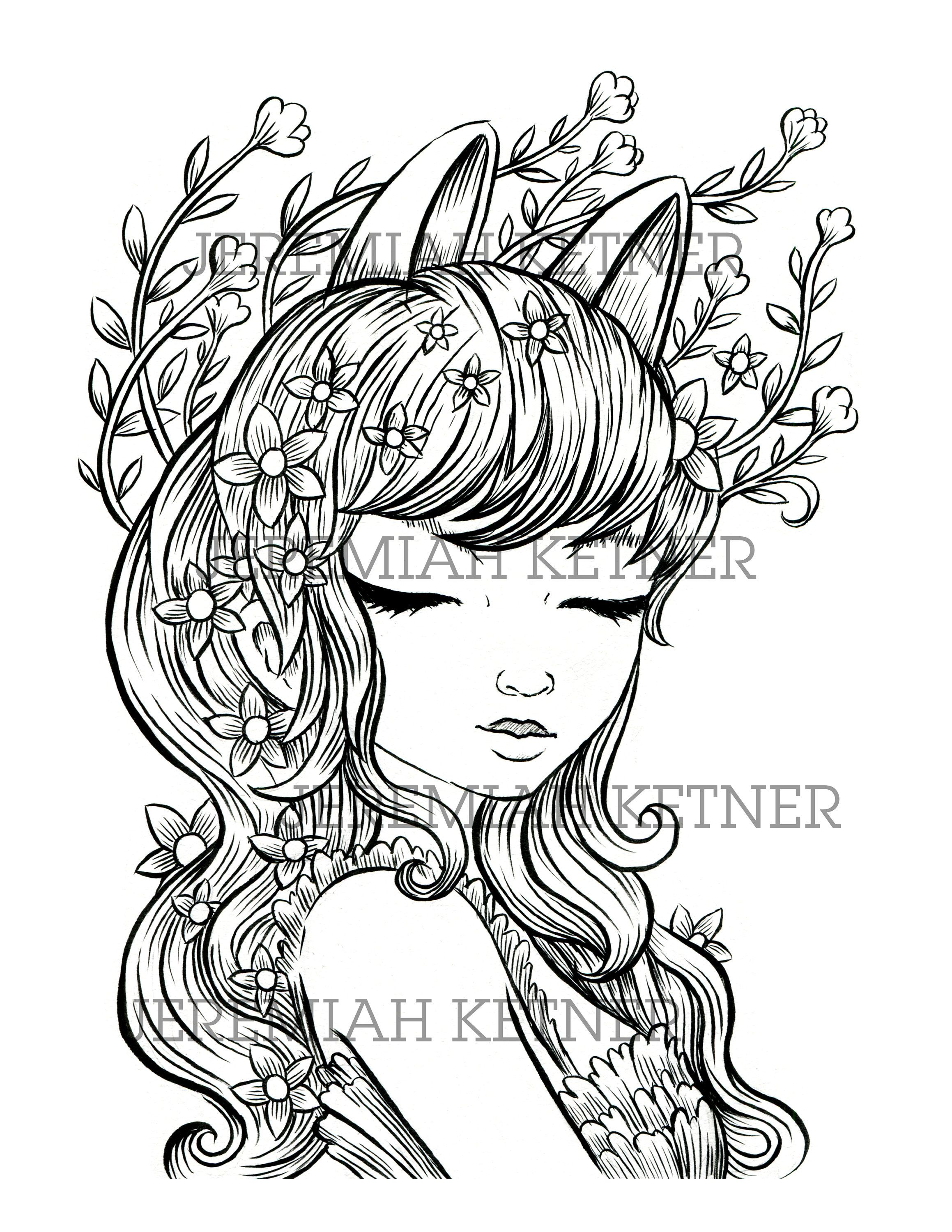 Unicorn Ears Coloring Page Instant Download Coloring Pages