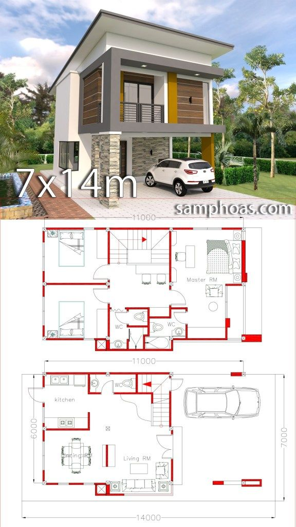 Small Home Design Plan 6x11m With 3 Bedrooms Samphoas Plan House Construction Plan Small House Design Plans House Projects Architecture