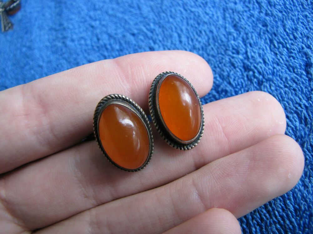 Silver Cufflinks Natural Vintage Baltic Amber USSR 875