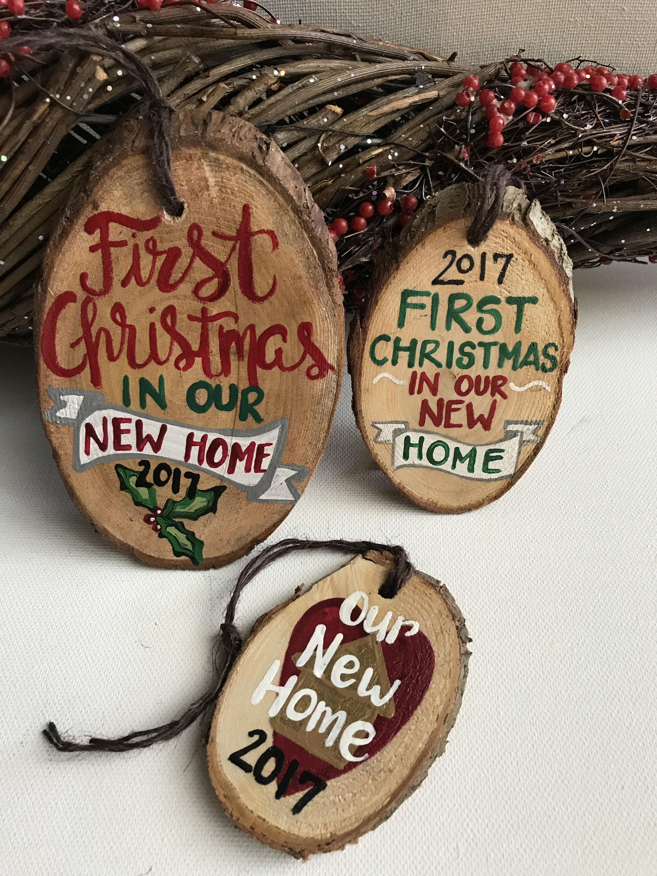 First Christmas In Our New Home Wood Slice Ornament 2019 New Etsy First Christmas Ornament Diy Christmas Ornaments Christmas Ornaments