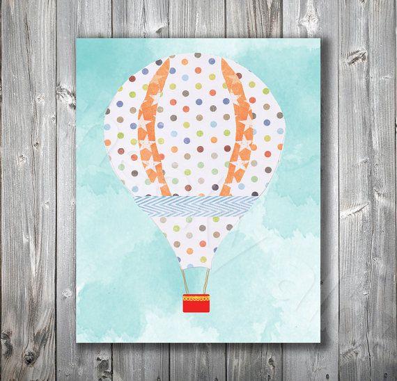 Hot Air Balloon nursery art print baby girl polka dots  by CheekyAlbi, $15.00
