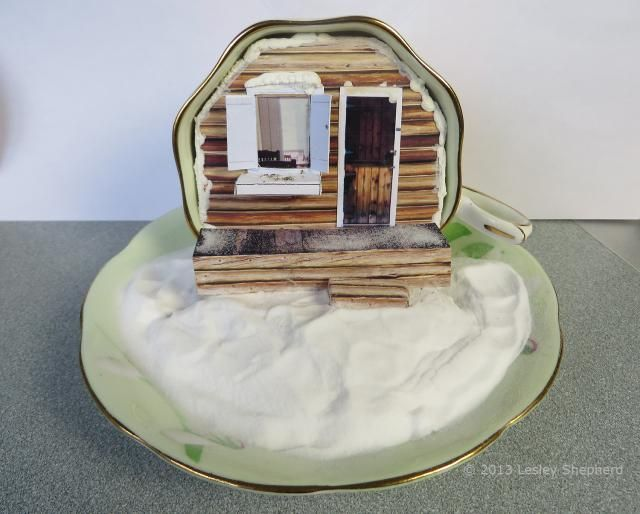 Printable cabin scene in quarter scale set into a teacup. - Photo © 2013 Lesley Shepherd