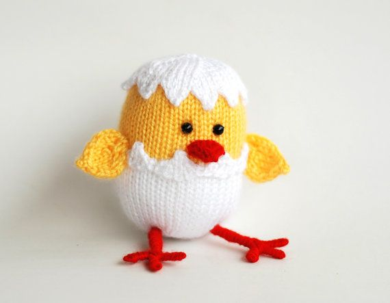 Easter chicken hatched from egg - pdf knitting pattern Knitting Pinterest...