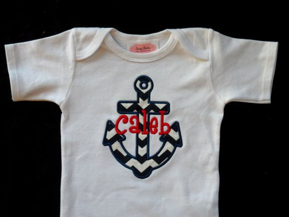 Nautical Anchor Baby Monogrammed Baby Boy Clothes personalized Baby Boy Outfit Perfect for Twins Monogram boy Outfit on Etsy, $17.00