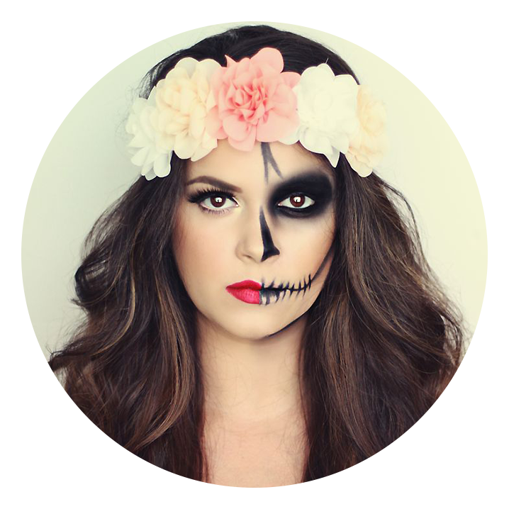 Quatang Gallery- Maquillage Halloween Moitie Belle Moitie Squelette Look Du Jour Mode Coiffure Maquillage In Maquillage Tete De Mort Maquillage Squelette Idee Maquillage