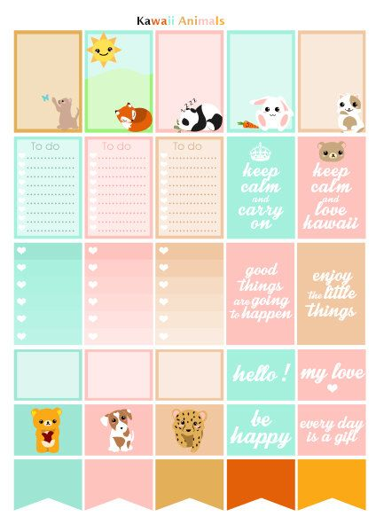 Printable stickers theme animals kawaii designed your planner or happy  planner with colors blue cdea41a8d0